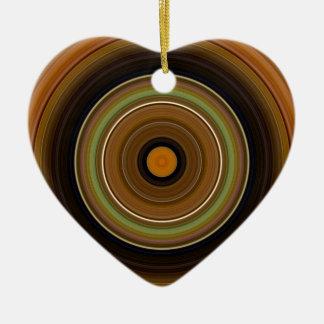 Grüne Orange hypnotischer Kreis-Browns Keramik Ornament