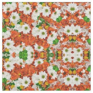 Grüne orange weiße Flora Stoff