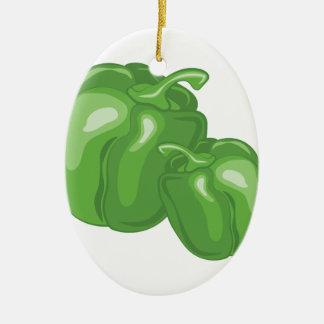 Grüne Paprikaschoten Ovales Keramik Ornament