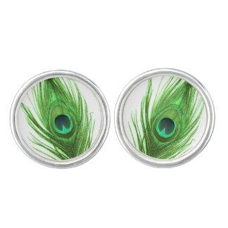 Grüne Pfau-Feder auf Weiß Manschettenknöpfe