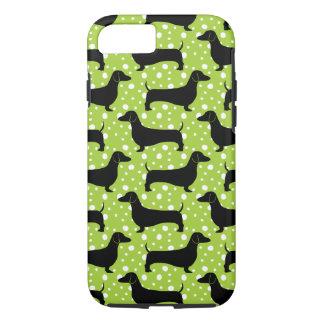 Grüne Polka-Dackeln iPhone 8/7 Hülle
