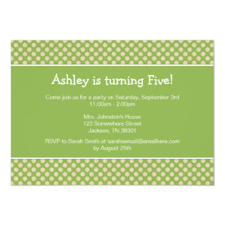 Grüne Polka-Punkt-Geburtstags-Party Einladungen