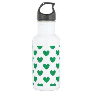 Grüne Polkaherzen Kelly auf Weiß Trinkflasche