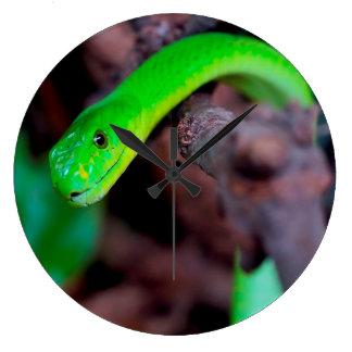 Grüne Pythonschlange-Schlange Große Wanduhr