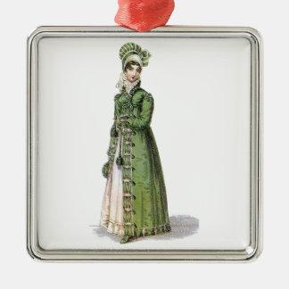 Grüne Regentschafts-Dame Quadratisches Silberfarbenes Ornament