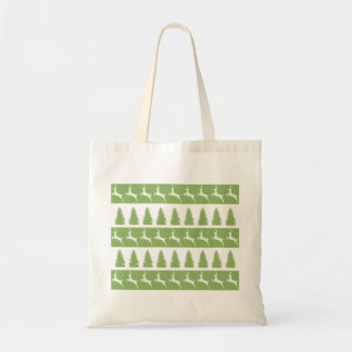 Grüne Ren-und Weihnachtsbaum-Taschen-Tasche Tragetasche
