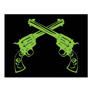 Grüne Retro Pistolen Postkarte