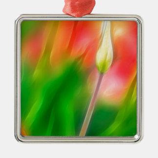 Grüne rote und gelbe Tulpe-Skizze Quadratisches Silberfarbenes Ornament