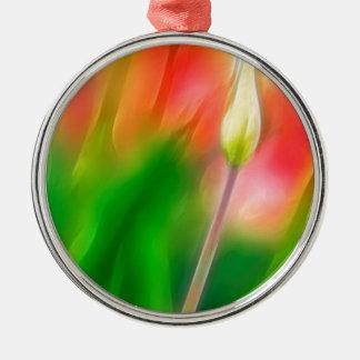 Grüne rote und gelbe Tulpe-Skizze Silbernes Ornament