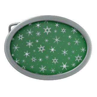 Grüne Schneeflocken Ovale Gürtelschnallen
