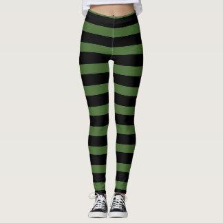 Grüne schwarze gestreifte Hexe Halloween Legging Leggings