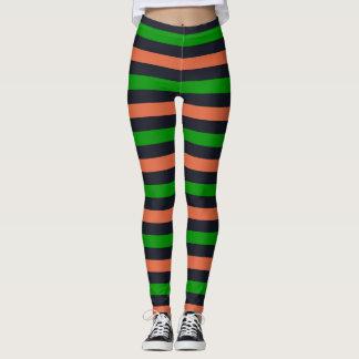 Grüne schwarze orange gestreifte leggings