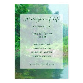 Grüne See-Feier der Leben-Denkmal-Einladung Karte