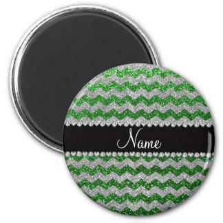 Grüne silberne Glittersparren des individuellen Kühlschrankmagnet