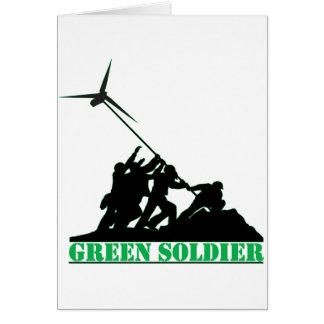 Grüne Soldat-Windmühle Grußkarte