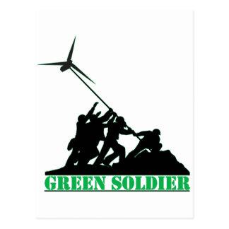 Grüne Soldat-Windmühle Postkarte