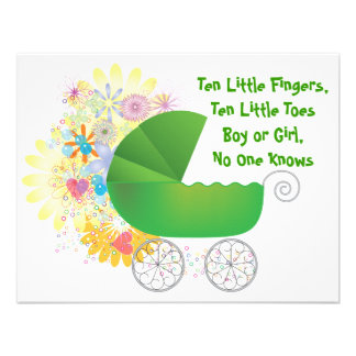 Grüne Spaziergänger-Babyparty-Einladung