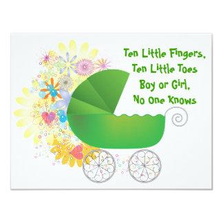 Grüne Spaziergänger-Babyparty-Einladung 10,8 X 14 Cm Einladungskarte