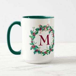 Grüne Stechpalmen-Feiertagwreath-Tasse Tasse