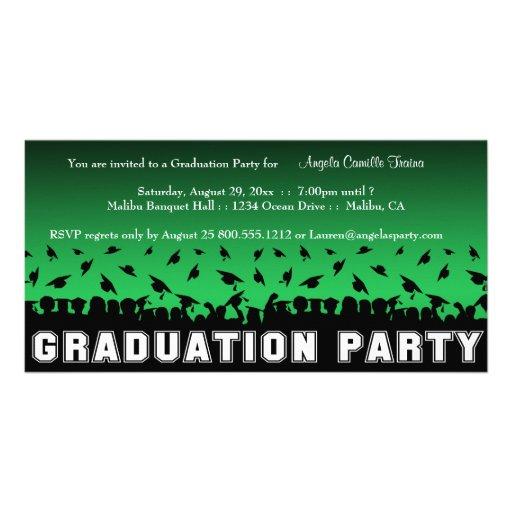 Grüne Steigungs-Abschluss-Party-Silhouette laden e Foto Karte