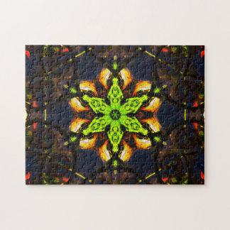 Grüne Stern-Mandala Puzzle
