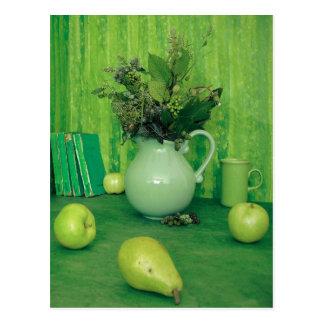 Grüne Stillleben-Rezept-Karte Postkarte
