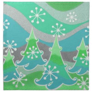 Grüne Stoffservietten der Winter-Bäume