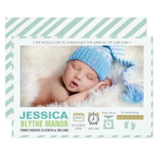 Grüne Streifen-Geburts-Mitteilungs-Foto-Karte 12,7 X 17,8 Cm Einladungskarte