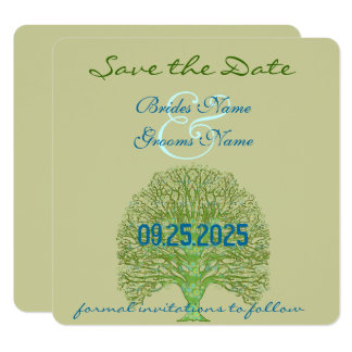Grüne Strudel-Liebe-Baum-Hochzeits-Einladung Karte