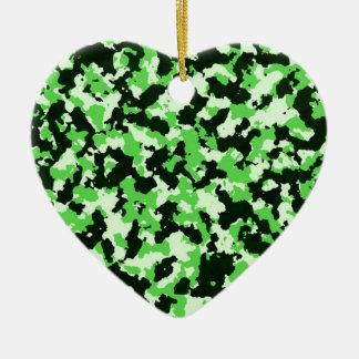 Grüne Tarnung Keramik Herz-Ornament