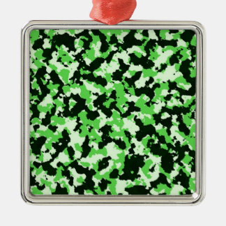 Grüne Tarnung Quadratisches Silberfarbenes Ornament