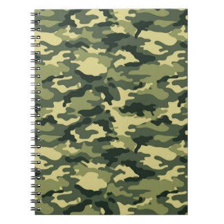 Grüne Tarnungs-gewundenes Notizbuch Notizblock