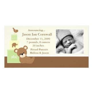 Grüne Teddy-Bärn-Foto-Geburts-Mitteilung Bildkarte
