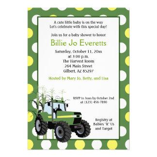 Grüne Traktor-Baby-Duschen-12x18 Einladung