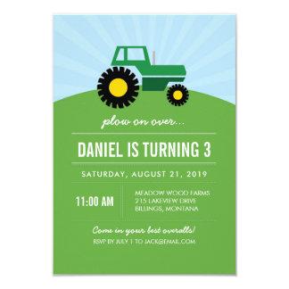 Grüne Traktor-Geburtstags-Party Einladung