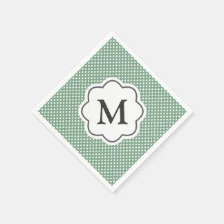Grüne Tupfen-Monogramm-Servietten Servietten