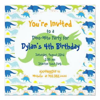 Grüne u. blaue Dinosaurier-Geburtstags-Party Quadratische 13,3 Cm Einladungskarte