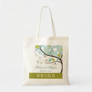 Grüne u. blaue Liebevogel-Gastgeschenk Hochzeit de Budget Stoffbeutel