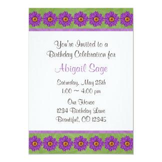 Grüne u. lila Blumen-Geburtstags-Einladung 12,7 X 17,8 Cm Einladungskarte