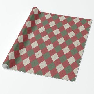 Grüne u. rote festliche Rauten-kariertes Muster Einpackpapier