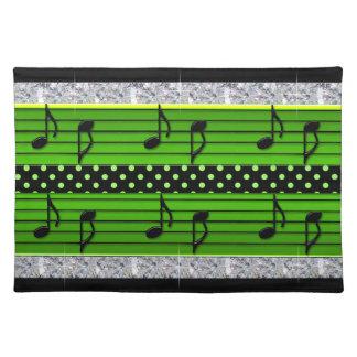 Grüne u. schwarze Tupfen-Diamanten u. musikalische Stofftischset