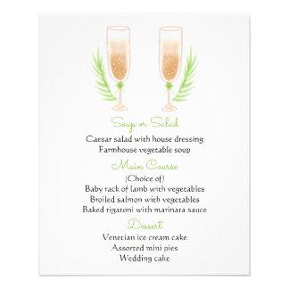 Grüne u. weiße Menü-Aquarell-Champagne-Gläser Flyer
