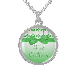 Grüne u. weiße Wedding Lilie Sterling Silberkette