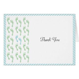 Grüne und blaue Abdruck-Babyparty danken Ihnen Karte