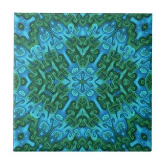 Grüne und blaue Hörner und Wirbel Fliese