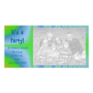 Grüne und blaue Krawatten-Party Karte