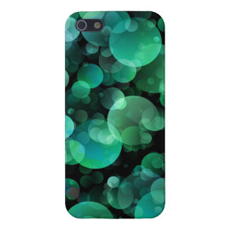 Grüne und blaue Kreis-Blasen über einem Schwarzen Etui Fürs iPhone 5