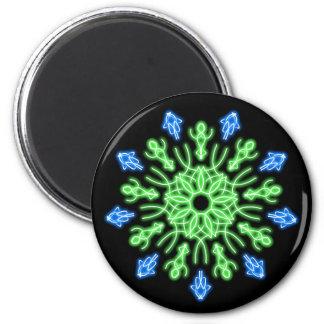 Grüne und blaue NeonBlume Runder Magnet 5,7 Cm