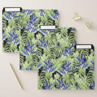 Grüne und blaue tropische Pflanzen Papiermappe
