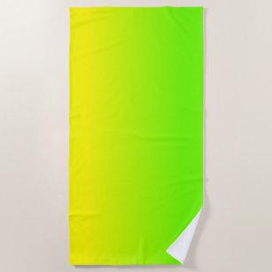 Grüne und gelbe Ombré Schatten-Neonneonfarbe Strandtuch